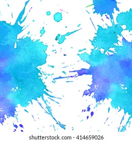 Vector background. blue color watercolor splash.