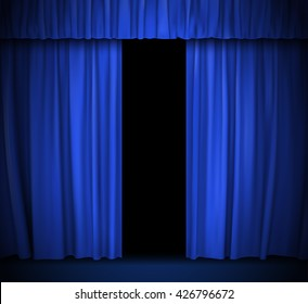 vector background with blue curtain
