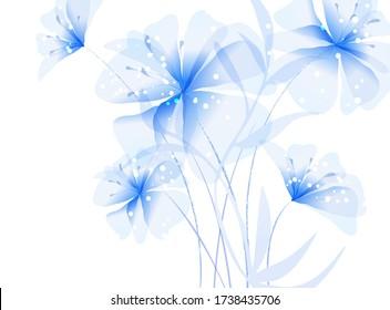 Vector Hintergrund mit blauen Blumen