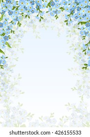 Vector background with blue forget-me-not flowers.