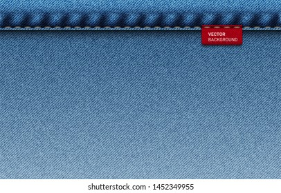 vector background Blue jeans denim texture with label - background for copy space for text. rectangle size