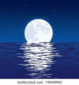 vector background of blue sea and full moon at night. light reflection of moonlight in wavy ocean water and stars in dark sky. beautiful nature landscape of moon and sea.