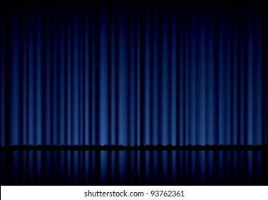 vector background with blue velvet curtain