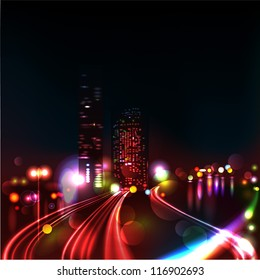 Vector background. Blurred Defocused Lights of Heavy Traffic on a Wet Rainy