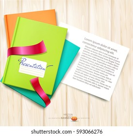 Vector background: books and magazines lying on derevyannos table with a card for the text. The top view.