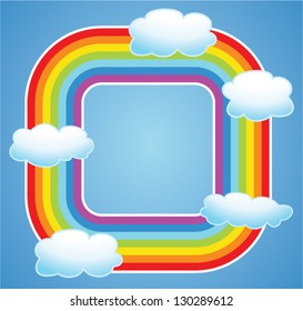 vector background border of rainbow and clouds in the sky