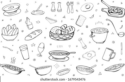 Vector background with breakfast, lunch, dinner, food, snacks. Useful for packaging, menu design and interior decoration. Hand drawn doodles. Sketchy collection of food elements on a white background