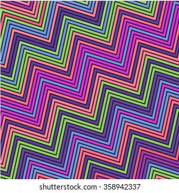 Vector background bright and colorful made of zig zag stripes