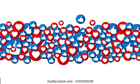 Vector background with buttons Love and Like. Finger and heart icons. Social Media design. Social network idea. Vector illustration.
