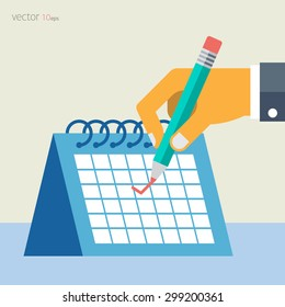 Vector background with calendar, hand and pencil. Flat style