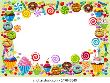 Vector background with candy, sweet and pastry and with place for your text.