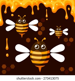 Vector background with cartoon bees and honey