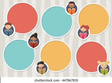 Vector background with cartoon children reading books. Circle frames for text with students. Infographic template design with balls.
