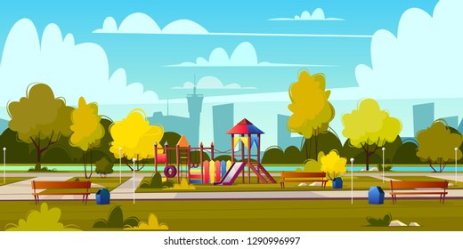 Vector background of cartoon playground in park at summer. Landscape with green trees, plants and bushes. Recreation area with trackway for people. Amusement space with swings, benches and pond.