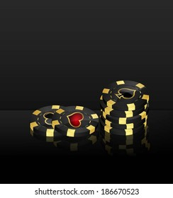 Vector background with casino chips design elements
