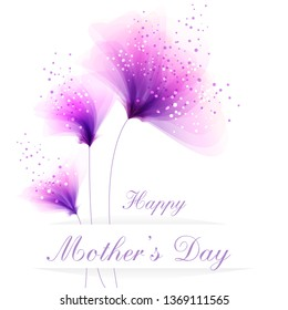 Vector background to celebrate mother's day with pink flowers