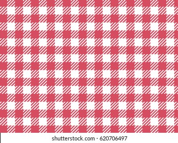 Vector background. Checkered vichy pattern. Trendy pink color.