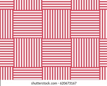 Vector background. Chess pattern of horizontal and vertical stripes. Trendy pink color.
