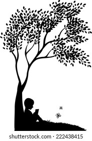 Vector background with child read a book under tree
