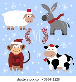 Vector background with Christmas animals. There are sheep, donkey, monkey. cow. Happy new year time.