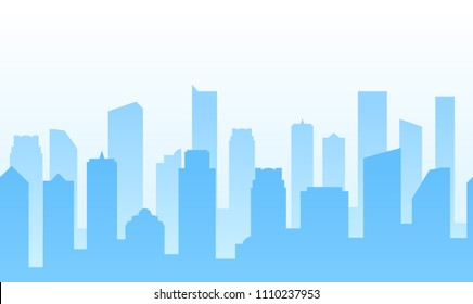 Vector Background with City for web site footer or Business banner design. Vector Illustration, EPS 10.