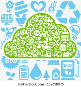 Vector background with cloud shape contained from ecology icons