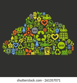 Vector background with cloud shape contained of ecology icons