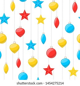 Vector background with colored christmas balls and stars hanging on threads