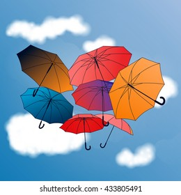 Vector background with colored umbrellas on sky background. Hand drawn card template.
