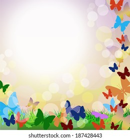 Vector background with colorful butterflies, green grass and bubbles