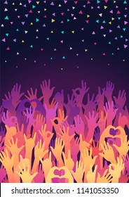 Vector background. Colorful up hands. Disco Friendship Party Flyer Template. Crowd of hands raised up. Different gestures of hands. Template design of flyer or poster for disco, concert, fans, party.