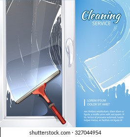 Vector background concept picture of cleaning service with illustration of rubber cleaner for windows. Picture with place for your text
