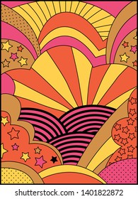 Vector Background, Cover, Poster Template from the 1960s Psychedelic Art Style