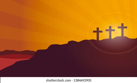 Vector background Cross of silhouette on the background of the sunset of the mountain of Calvary. Concept of Easter