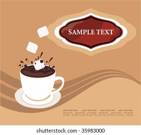 Vector background with cup of creamy chocolate and sugar pieces