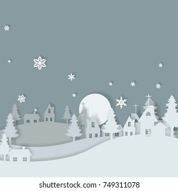 Vector background of cut paper is overlapping layers. For card design, Christmas and New Year.