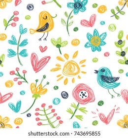 Vector background with cute birdies and flowers.