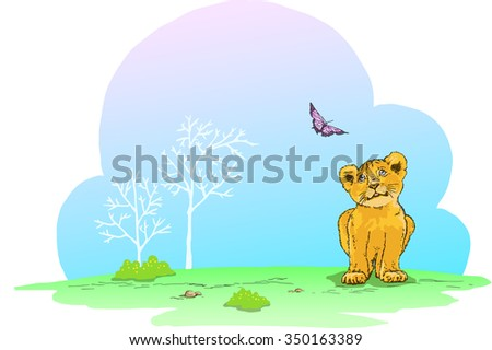 Vector Background Cute Lion Cub Ideal Stock Vector Royalty Free