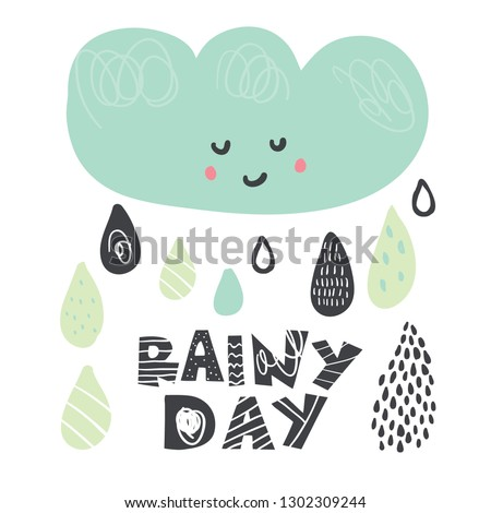 Vector Background Cute Smiling Cloud Funny Stock Vector Royalty