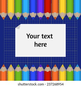 Vector background of the cutting mat and border of colored pencils. Place for your text.