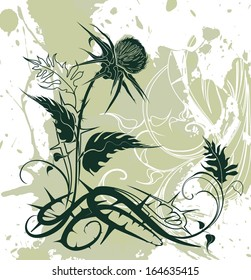 vector background decorated with thistle plant in grunge style