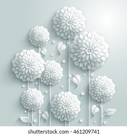 Vector background with decorative white round flowers and drops in 3D white style