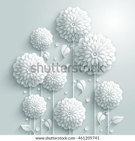 Vector background decorative white round flowers stock vector vector background with decorative white round flowers and drops in 3d white style mightylinksfo