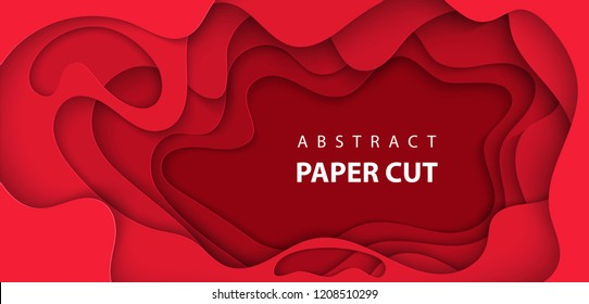 Vector background with deep red color paper cut shapes. 3D abstract Christmas paper art style, design layout for business presentations, flyers, posters, prints, decoration, cards, brochure cover.