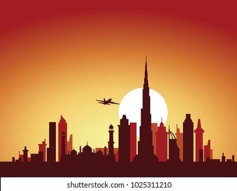 vector background design city skyline of dubai with airplane flying above the city and sun rise behind