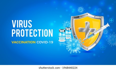 Vector background design with coronavirus vaccine. A protective shield created by vaccines against Covid-19. Antivirus protection.