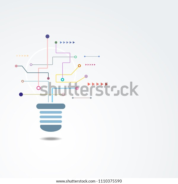 Vector background design with light bulb processing concept