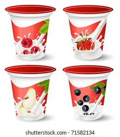 Vector. Background for design of packing yogurt with photo-realistic vector of berries.