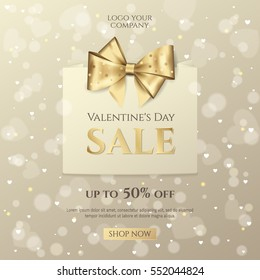 Vector background for design sale posters and flyers for Happy Valentine's day celebration with paper shopping bag and golden bow. Elegant template for discount offer banners with effect bokeh