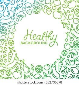 Vector background  design template in trendy linear style with copy space for text and fruit and vegetable icons - healthy store, vegan and natural food product concept